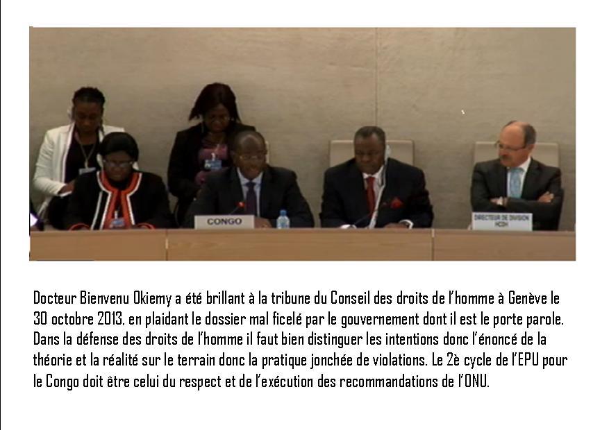 La délégation congolaise conduite par le Ministre Bienvenu Okiemy (Violations des Droits de l'Homme en Afrique et dans le monde)