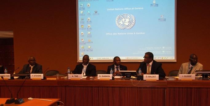Me Maurice Massengo-Tiassé Président du CIRAC; Alioune Tine, Président de la CNDH du Sénégal, Biro Diawara, Chargé des programmes de la Raddho, Docteur Ibrahima Guissé et Oumar Baldet (Nouvelles des ONG, INDH, organisations régionales et onusiennes)