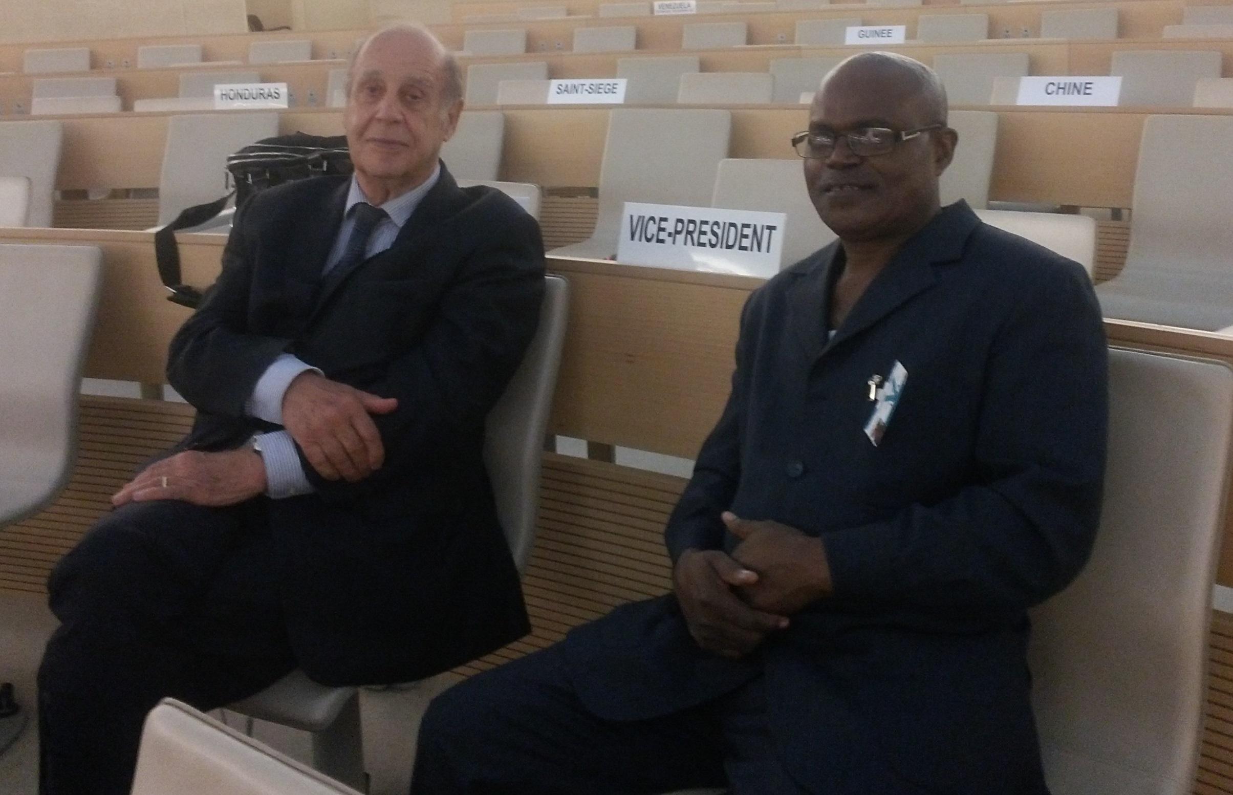 Docteur Massengo-Tiassé et le Professeur Jean Ziegler Vice-Président Comité Consultatif du Conseil des droits de l'homme des Nations Unies  (Violations des Droits de l'Homme en Afrique et dans le monde)